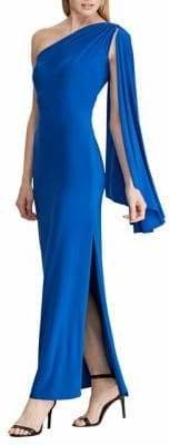 Lauren Ralph Lauren Cape One-Shoulder Column Gown