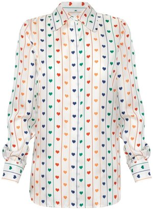 Lisou Bailey Rainbow Heart Print Silk Shirt