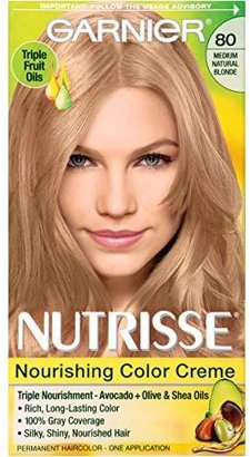 Garnier Nutrisse Nourishing Color Creme, 80 Medium Natural Blonde (Butternut) (Packaging May Vary) $7.99 thestylecure.com