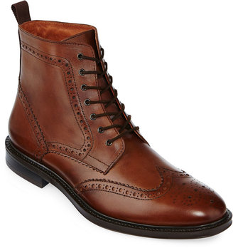 STAFFORD Stafford Deacon Mens Wingtip Leather Boots $120 thestylecure.com