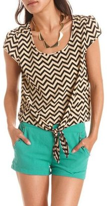 Charlotte Russe Studded Chevron Tie-Front Top