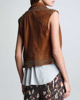 Haute Hippie Distressed Suede Vest