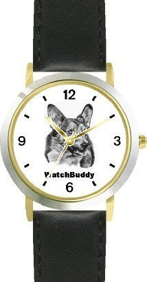 Corgi SC) Dog - WATCHBUDDY® CLASSIC DELUXE TWO-TONE THEME WATCH - Arabic Numbers-Black Leather Strap-Size-Large ( Men's Size or Jumbo Women's Size )