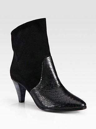 Rebecca Minkoff Bethany Suede and Python-Print Leather Ankle Boots