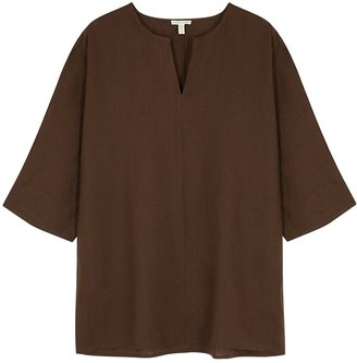Eileen Fisher Brown Organic Linen Top