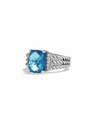David Yurman Petite Wheaton Ring with Hampton Blue Topaz and Diamonds $595 thestylecure.com