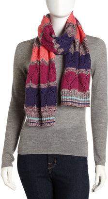 Missoni Large-Zigzag Knit Scarf, Berry
