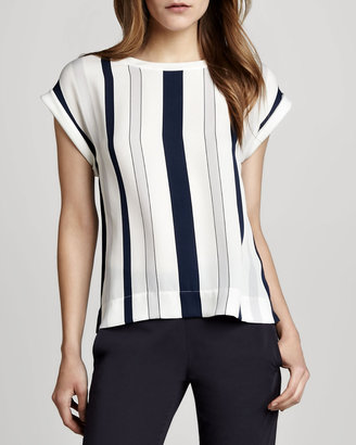 Theory Sorcha Striped Silk Top