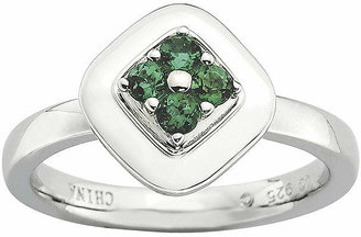 FINE JEWELRY Personally Stackable Lab-Created Emerald Flower Cluster Ring
