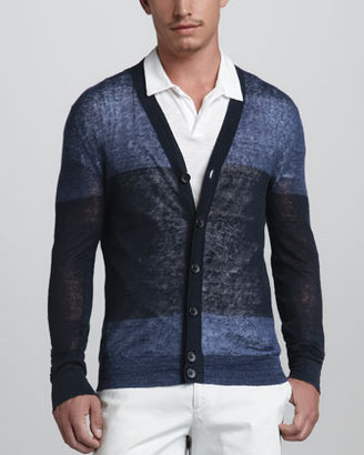 Theory Colorblock Linen-Blend Cardigan