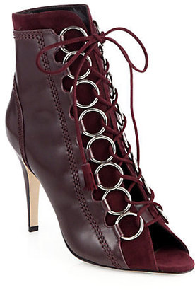 Brian Atwood Adele Leather Lace-Up Ankle Boots