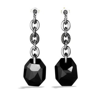 David Yurman DY Signature Collection Drop Earrings with Black Onyx and Black Diamonds