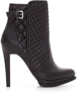 Zara Quilted High Heel Ankle Boot