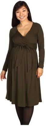 Olian Maternity Wrap Dress (Olive) - Apparel