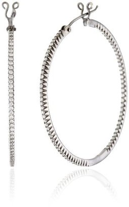 "Sethi Couture ""Simple Elegance"" 1.5 Inch Diamond Black Gold Micro Hoop Earrings"