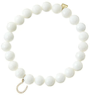 Sydney Evan 8mm Faceted White Agate Beaded Bracelet with 14k Yellow Gold/Micropave Diamond Horseshoe Charm (Made to Order)