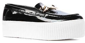 Jeffrey Campbell The Luis Shoe in Black Patent, Gold and White