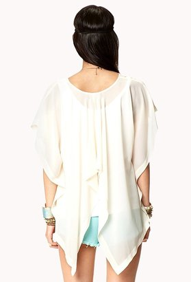 Forever 21 Contemporary High-Low Flutter Sleeve Top