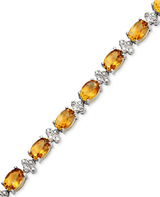 Sterling Silver Bracelet, Citrine (12 ct. t.w.) and Diamond Accent Oval