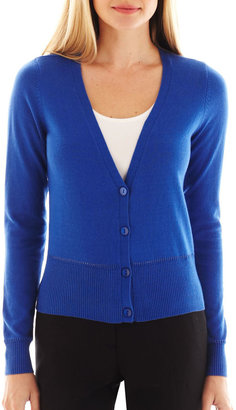 JCPenney Worthington Long-Sleeve Pointelle-Trim Cardigan Sweater