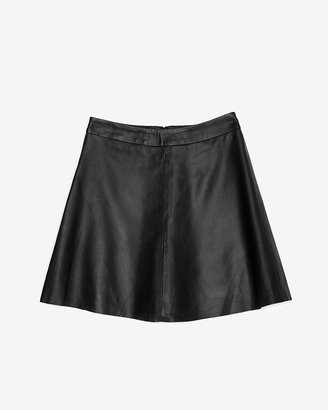Veda Chateau Flared Leather Skirt