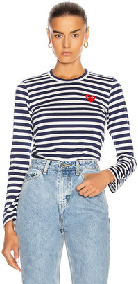 Comme des Garcons Stripe Red Heart Tee