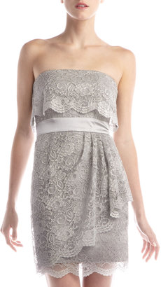 Laundry by Design Strapless Draped Lace Dress, Steel