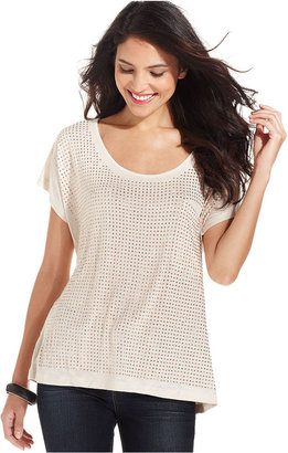 Style&Co. Top, Short-Sleeve Studded Jersey-Knit Tee