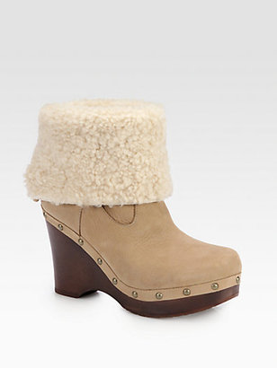 UGG Carnagie Leather & Shearling Clog Ankle Boots