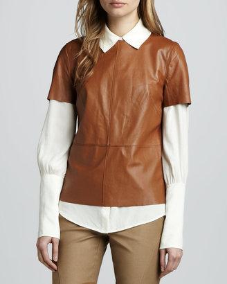 Rachel Zoe Janette Short-Sleeve Leather Blouse (Blogger Pick!)