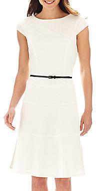 Evan Picone Black Label by Evan-Picone Cap-Sleeve Belted Dress