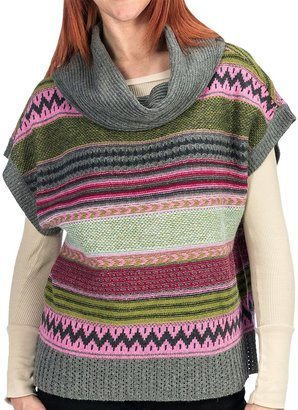 dylan Modern Vintage Aztec Poncho Sweater - Cowl Neck, Short Sleeve (For Women)