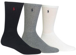Polo Ralph Lauren Men's Socks, Extended Size Classic Athletic Crew 3 Pack
