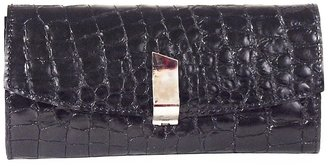 Carnet de Mode Clutch - crock leather - black/metallic bordeaux