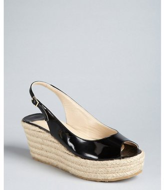 Jimmy Choo black patent leather slingback 'Polaris' jute wedges