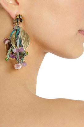 Etro + V&A gold-plated, tourmaline and silk clip earrings
