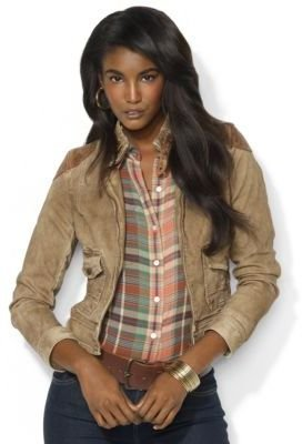 Lauren Ralph Lauren Leather-Trimmed Denim Jacket