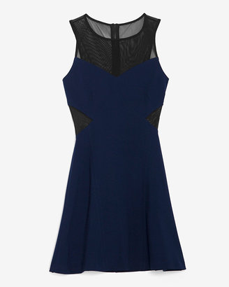 Intermix Exclusive For Colorblock Mesh Detail Flare Dress: Navy