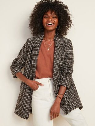 Old Navy Oversized Soft-Brushed Patterned Blazer Jacket for Women