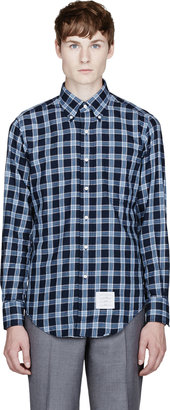 Thom Browne Navy Blue Airforce Flannel Check Shirt