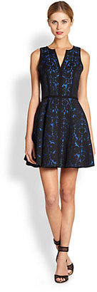 Black Halo Aria Lace Brocade Fit-And-Flare Dress