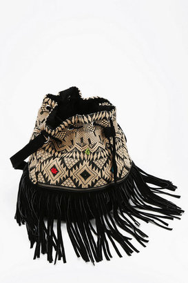 Urban Outfitters Ecote Embroidered Fringe Bucket Bag