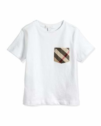 Burberry Short-Sleeve Jersey Tee w/ Pocket, White, 4Y-14Y $70 thestylecure.com