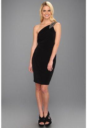 Calvin Klein Beaded One-Shoulder Jersey Dress (Black) - Apparel