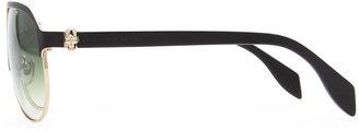 Alexander McQueen Gold Skull Aviator Sunglasses, Black