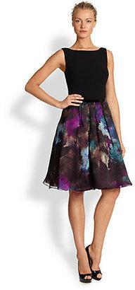 Theia Printed Crepe & Organza Dress