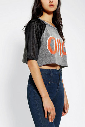 Urban Outfitters Corner Shop OMG Mesh-Sleeve Cropped Tee