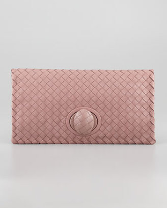Bottega Veneta Full-Flap Turnlock Clutch Bag, Mauve