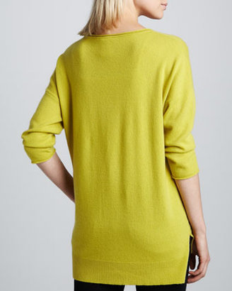 Neiman Marcus Cashmere High-Low Sweater