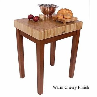 John Boos American Heritage Prep Table with Butcher Block Top Shelves: Not Included, Base Finish: Alabaster White